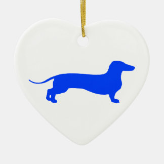 Blue Doxie Ceramic Ornament