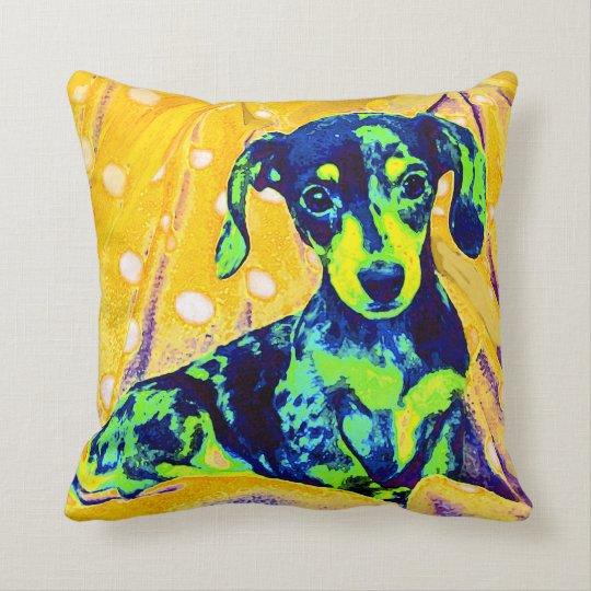 blue doxie -pop art pillow