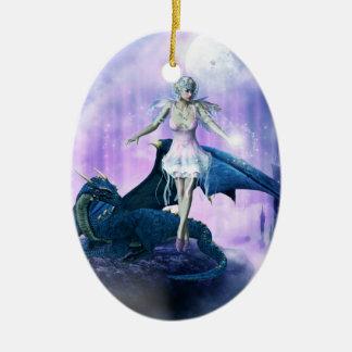Blue dragon and fairy ceramic oval ornament