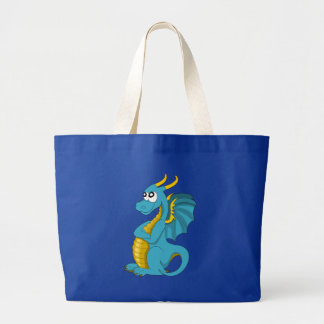 Blue dragon cartoon large tote bag