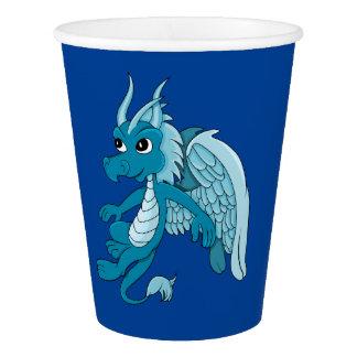 Blue dragon cartoon paper cup