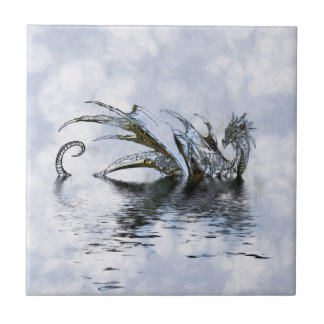 Blue Dragon Illustration in clouds and water Tile