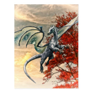 Blue Dragon in Autumn by Shawna Mac Postcard