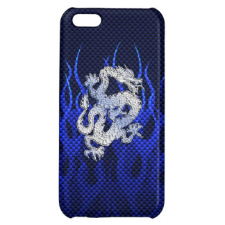 Blue Dragon in Chrome Carbon like flames iPhone 5C Covers