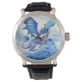 Blue Dragon on a Mountain Top Watches