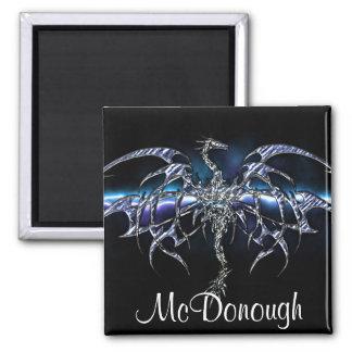 Blue Dragon on Lightning Sky Square Magnet