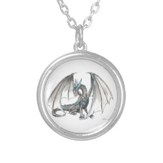 Blue dragon silver plated necklace
