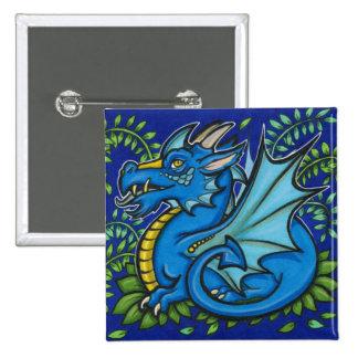 Blue Dragon Square 2 Inch Square Button
