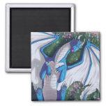 Blue Dragon Square Magnet