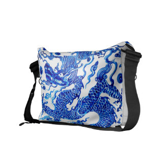 Blue Dragon Vintage Chinese Vase Designer Purse Messenger Bag
