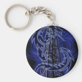 Blue dragon wrapping around derrick basic round button keychain