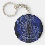 Blue dragon wrapping around derrick keychain