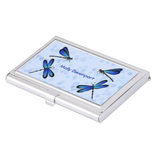 blue dragonflies business card holder