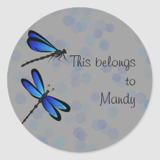 blue dragonflies classic round sticker
