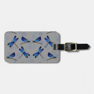 blue dragonflies luggage tag