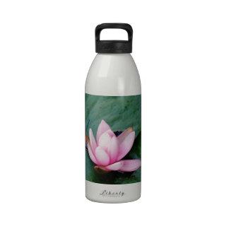 Blue Dragonflies on a pink lotus flower Water Bottles