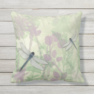 Blue Dragonflies Outdoor Pillow