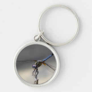 blue dragonfly-001 kc Silver-Colored round keychain