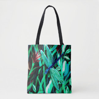 Blue Dragonfly Abstract Tote Bag