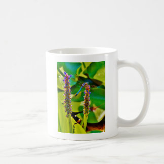 Blue Dragonfly and flowers Coffee Mugs