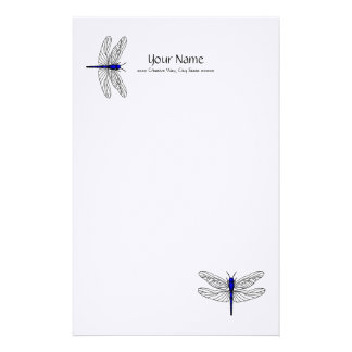 Blue Dragonfly Linen Stationery