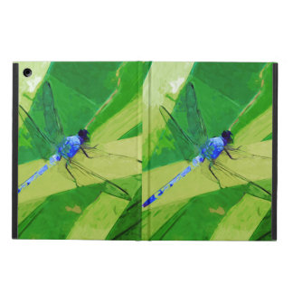 Blue Dragonfly on Green Abstract Impressionism iPad Air Cover