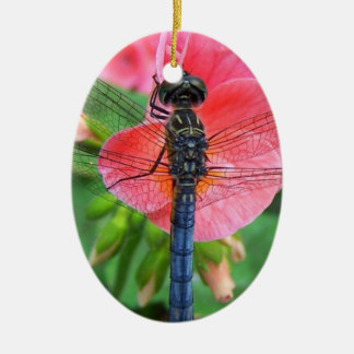 Blue dragonfly on pink flower green background ceramic oval ornament