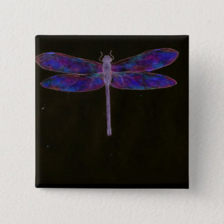 Blue Dragonfly wearable art 2 Inch Square Button