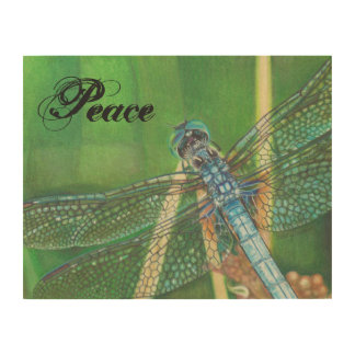 blue dragonfly wooden wall art with Peace word Wood Canvas