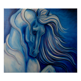 Blue Drama Horse Poster