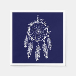 Blue Dream Catcher Native American Wedding Party Paper Napkin