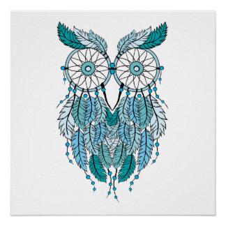 blue dreamcatcher owl poster