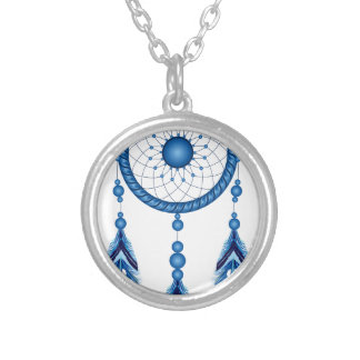 Blue Dreamcatcher Silver Plated Necklace