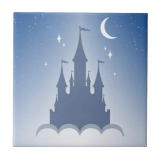 Blue Dreamy Castle In The Clouds Starry Moon Sky Ceramic Tiles