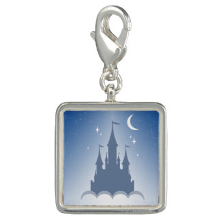 Blue Dreamy Castle In The Clouds Starry Moon Sky Photo Charm