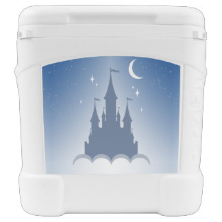 Blue Dreamy Castle In The Clouds Starry Moon Sky Rolling Cooler