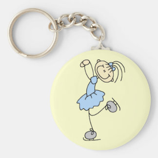 Blue Dress Figure Skater t-shirts and Gifts Basic Round Button Keychain