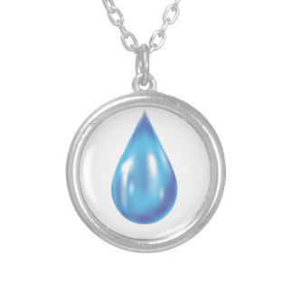 Blue drop silver plated necklace