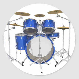 Blue Drum Kit: Classic Round Sticker
