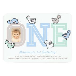 Blue Ducks Big One Boy 1st Birthday Party Invite