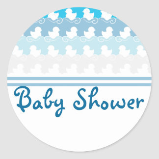 blue ducks in row baby shower seal sticker