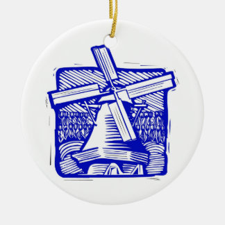 Blue Dutch Windmill Ceramic Ornament
