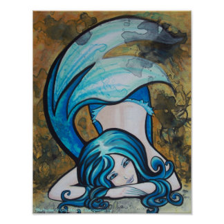Blue Dutchess Mermaid pin up Art Poster