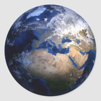 Blue Earth From Space  Inspirational Globe World Classic Round Sticker