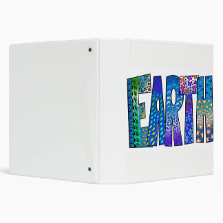 Blue Earth Graphic on White Three Ring Binder