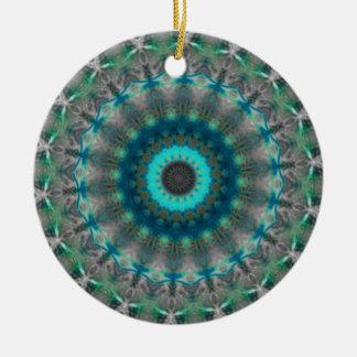 Blue Earth Mandala Kaleidoscope pattern Ceramic Ornament