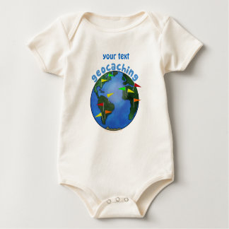 Blue Earth With Flags Geocaching Custom Baby Bodysuit