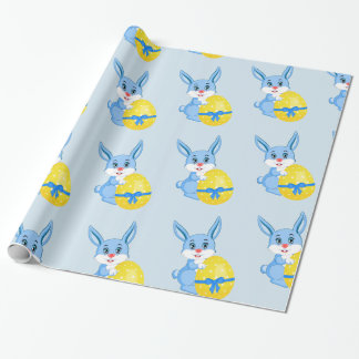 Blue Easter Bunny Cartoon Wrapping Paper
