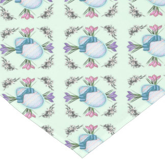 Blue Easter Eggs and Floral Short Table Runner