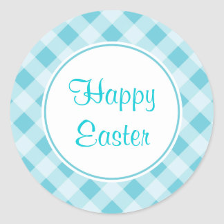 Blue Easter Gingham Stickers